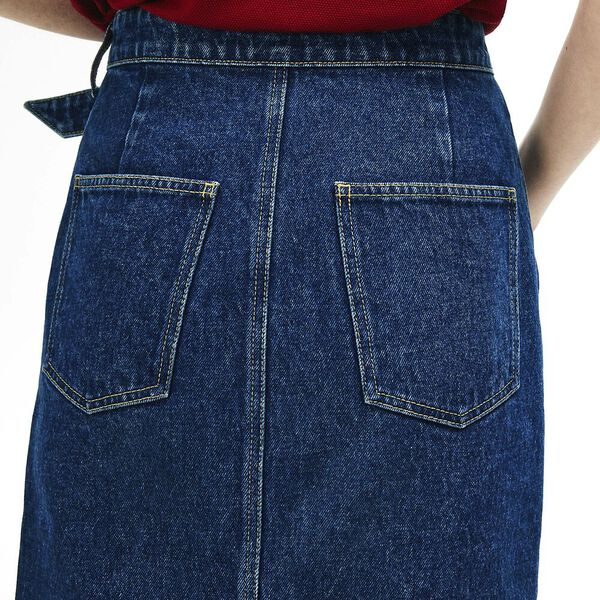 Women's Black Denim Cotton Skirt, BLACK DENIM, hi-res