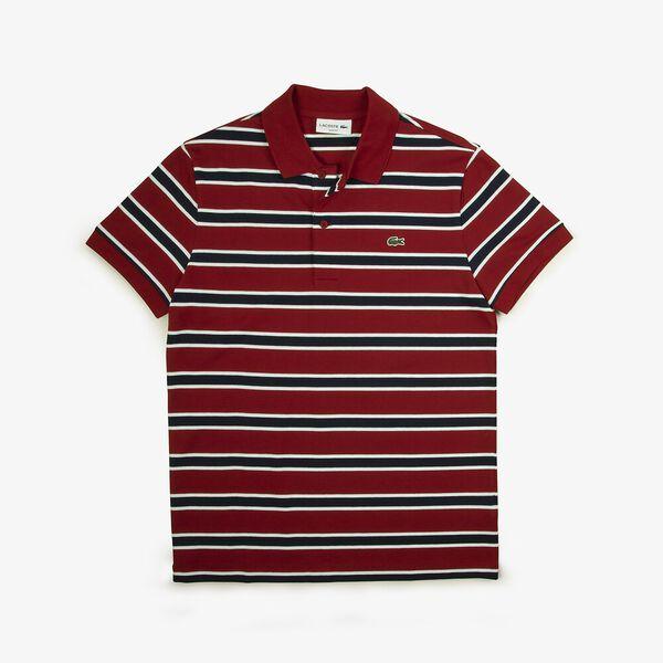 Men's Striped Slim Fit Stretch Polo, ALIZARIN/WHITE-NAVY BLUE, hi-res