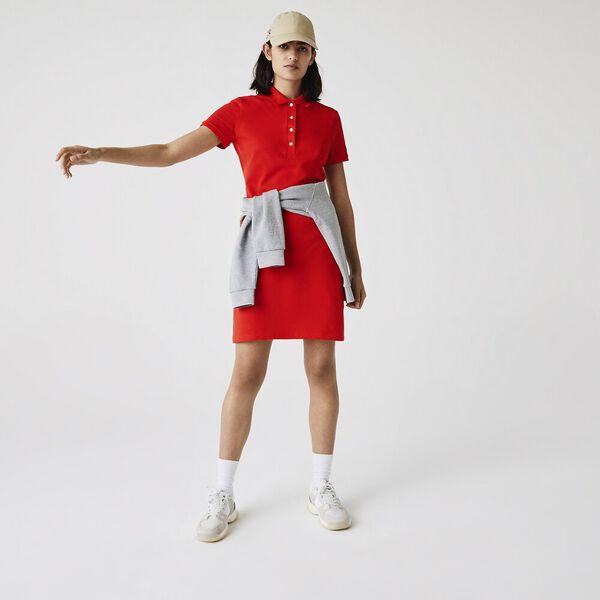 Women's Stretch Cotton Piqué Polo Dress, REDCURRANT BUSH, hi-res