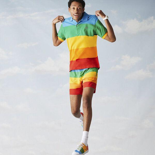 Men's Lacoste x Polaroid Color Striped Cotton Piqué Polo, FIJI/MALACHITE GYPSUM, hi-res