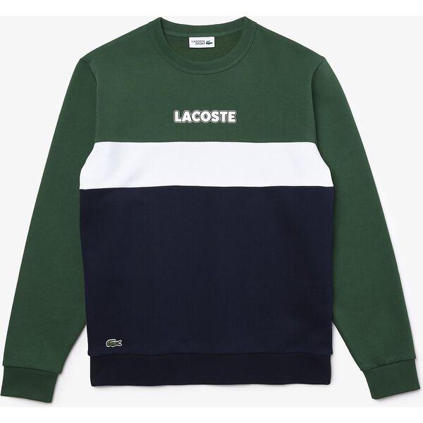 Men's SPORT Crew Neck Colorblock Fleece Sweatshirt, GREEN, hi-res