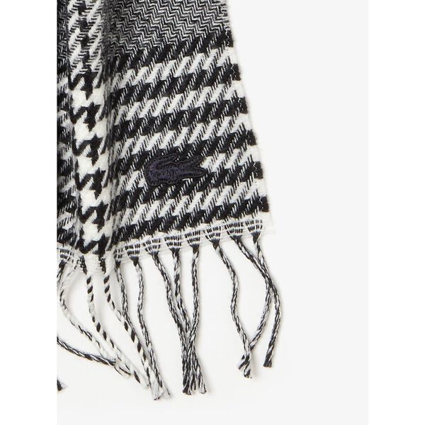 Men's Chic Wool Jacquard Scarf, FLOUR/BLACK, hi-res
