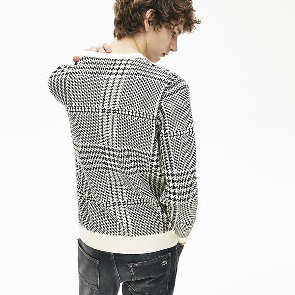 Men's Chic Jacquard Crew Neck Knit, FLOUR/BLACK, hi-res