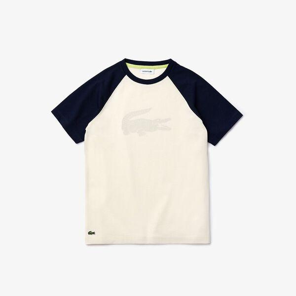 Boy's Crocodile Print Bicolour Cotton T-shirt