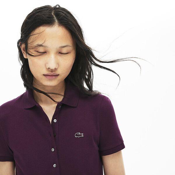 Women's 5 Button Slim Stretch Core Polo, EGGPLANT, hi-res
