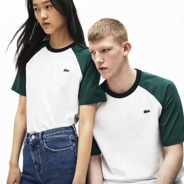 Unisex Lacoste LIVE Bicolour Cotton Baseball T-shirt, BLANC/PIN-MARINE, hi-res