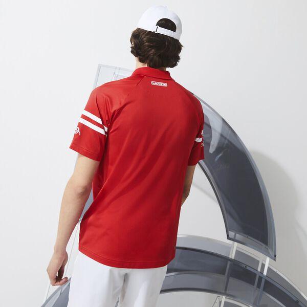 Men's SPORT x Novak Djokovic Ultra-Light Striped Polo, FIREMAN/WHITE, hi-res