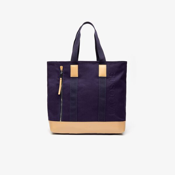 Classic Leather and Canvas Tote Bag