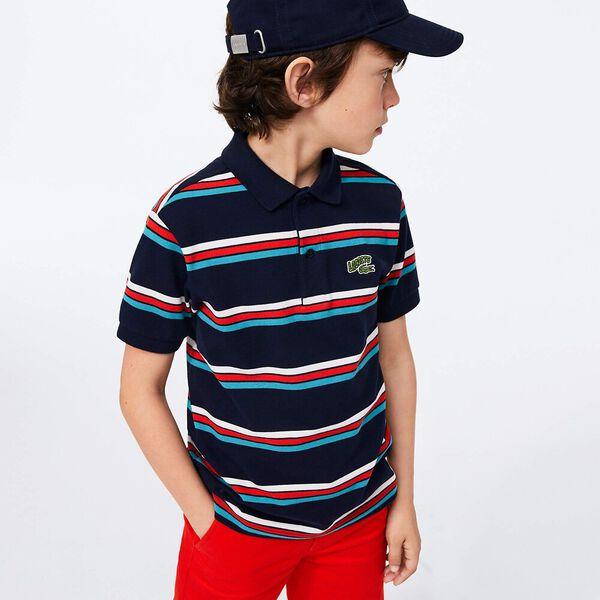 Boy's Badge Striped Cotton Piqué Polo Shirt
