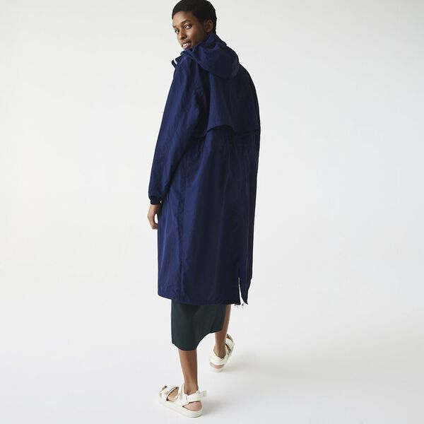Women's Long Water-Resistant Lightweight Nylon Parka, NAVY BLUE/WHITE, hi-res