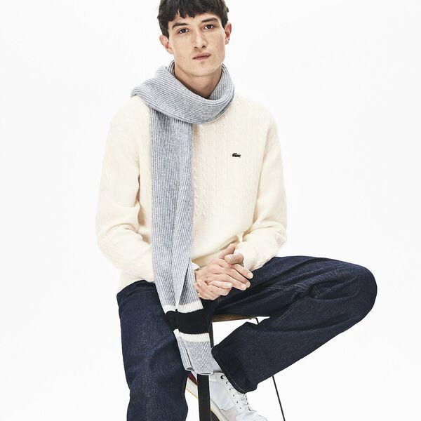 Men's Classic Cable Stitch Wool Knit, FLOUR, hi-res