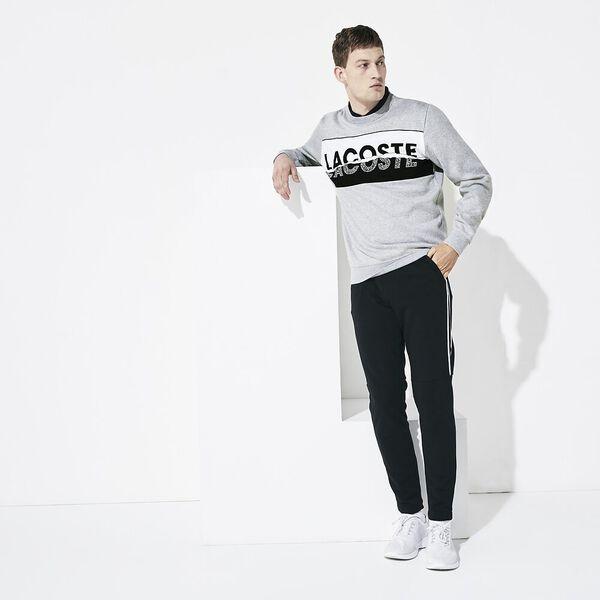 Men's SPORT Graphic Print Fleece Sweatshirt, ARGENT CHINE/NOIR-BLANC, hi-res