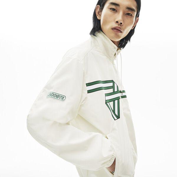 Men's Print Band Zip Heritage Tracksuit Jacket, FARINE, hi-res