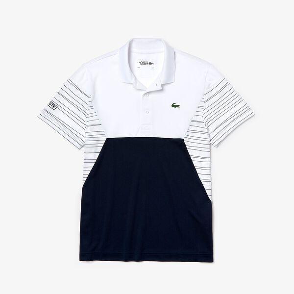 Men's Tennis Ultra Dry Pique Knit Polo, WHITE/NAVY/WHITE, hi-res