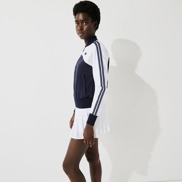 Women's SPORT Loose Fit Colorblock Zip Teddy Jacket, WHITE/NAVY BLUE-COSMIC, hi-res