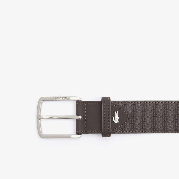 Men's Lacoste Engraved Buckle Texturised Leather Belt, FLOUR/GLADIOLUS, hi-res