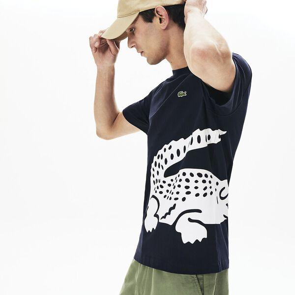 Men's Oversized Crocodile Print Crew Neck T-shirt