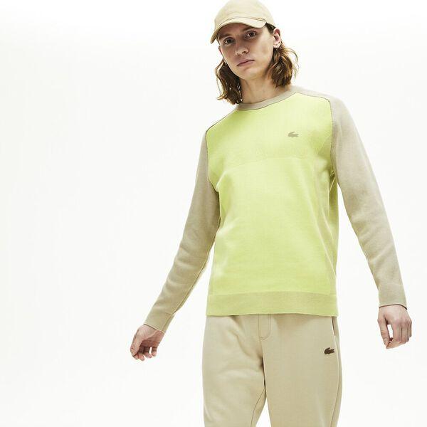 Men's Lacoste Motion Breathable Colourblock Sweater, PLAGE/FARINE, hi-res