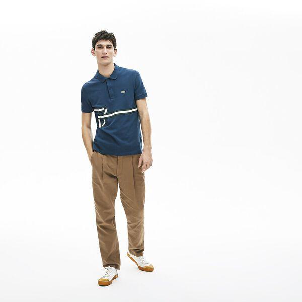 Men's Stripe Print Polo Shirt, LEGION, hi-res