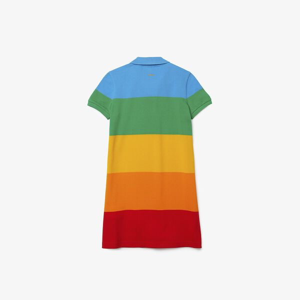 Girls' Lacoste x Polaroid Color Striped Cotton Polo Dress, CORRIDA/ORPIMENT-GYPSUM-M, hi-res