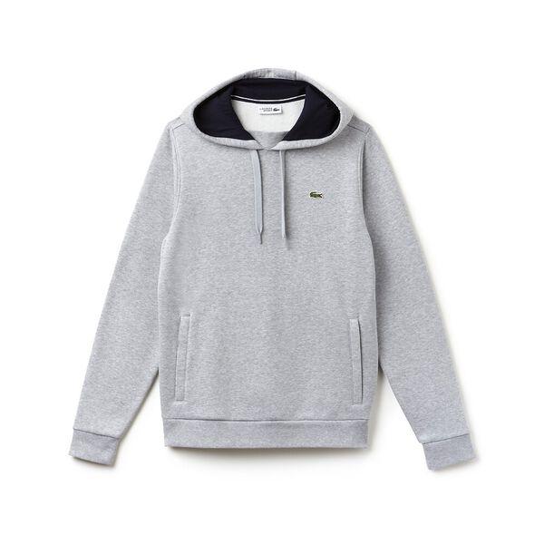 Men's Lacoste Sport Hooded Pullover, SILVER/NAVY BLUE, hi-res