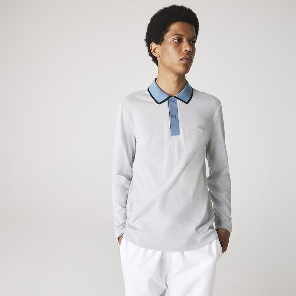 Men's Contrast Collar Placket Long Sleeve Piqué Polo, CUMULUS/LIMESTONE-BLACK, hi-res