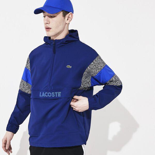 Men's Lacoste SPORT Jacquard Taffeta Windbreaker, METHYLENE/NOIR-BLANC-OBSCURITE, hi-res