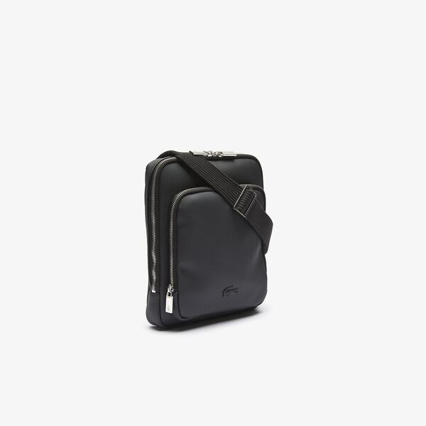 Men's Classic Zippered Pocket Rectangular Crossbody Bag, NOIR, hi-res
