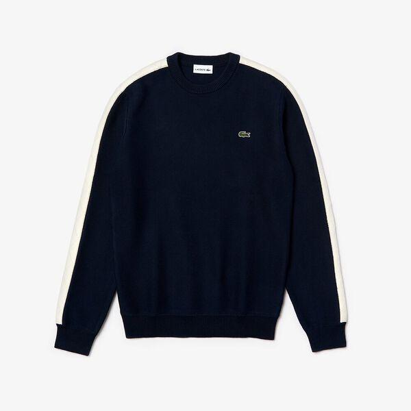Men's Heritage Argyle Quilted Sleeve Knit, NAVY BLUE/MASCARPONE, hi-res