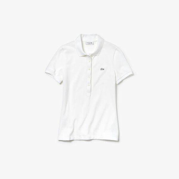 Women's Slim Fit Stretch Mini Cotton Piqué Polo Shirt, WHITE, hi-res
