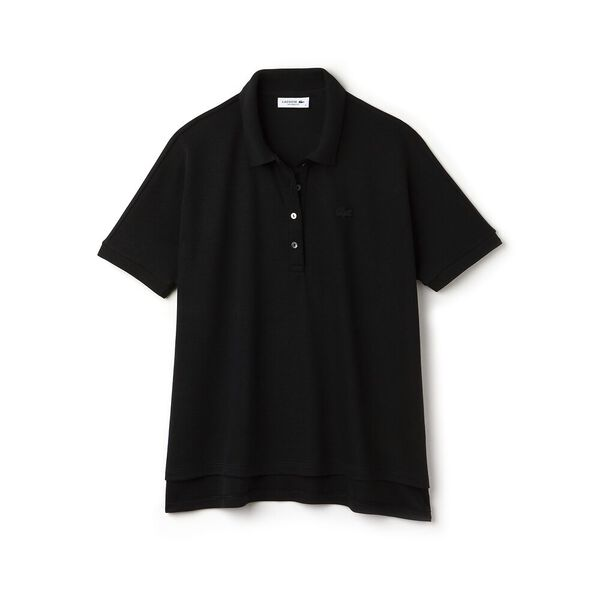 Women's Relaxed Fit Polo, BLACK, hi-res