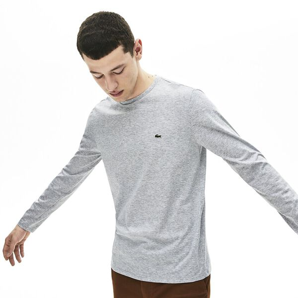 Men's Basic Crew Neck Long Sleeve Pima Tee, SILVER CHINE, hi-res