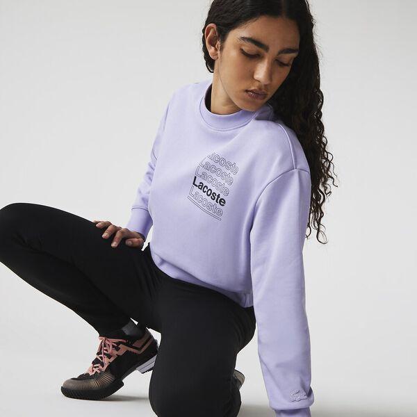 Women's LIVE Crew Neck Print Fleece Sweatshirt