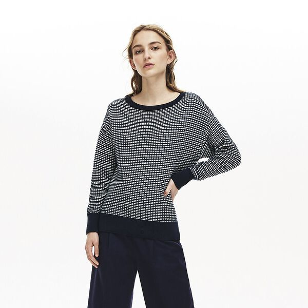 Women's Tattersalls Jacquard V Neck Knit, NAVY BLUE/WHEELWRIGHT-GEODE, hi-res