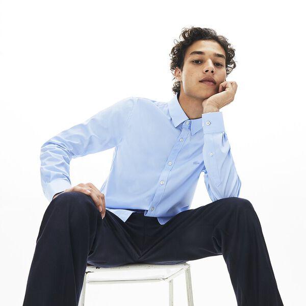 Men's Long Sleeve Slim Stretch Solid Poplin Shirt, LAGOON, hi-res