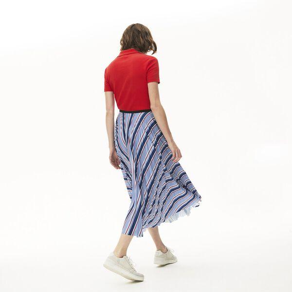 Women's Multicolour Striped Pleated Skirt, MARINE/NOIR-METHYLENE-SUBAL, hi-res