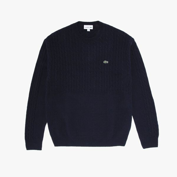 Men's Classic Cable Stitch Wool Knit, NAVY BLUE, hi-res