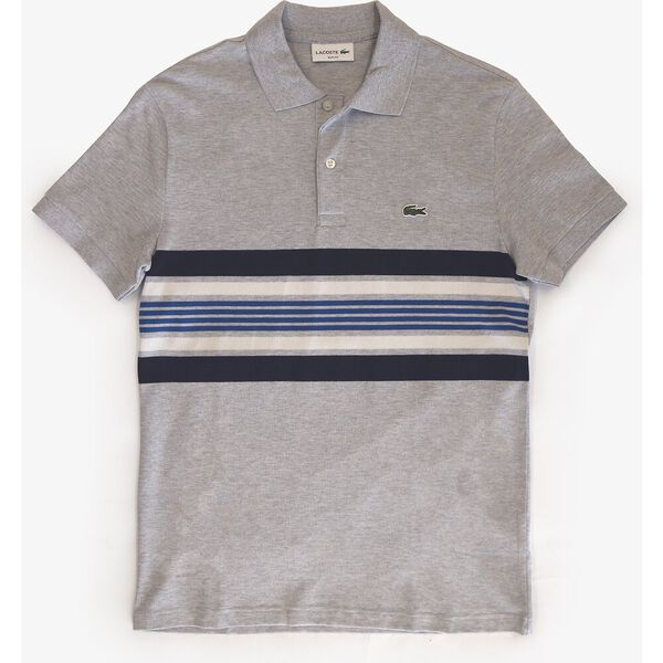 Men's Mini Cotton Piqué Striped Panel Slim Fit Polo, ARGENT CHINE/MARINE-FARINE-ELECTRIQUE, hi-res