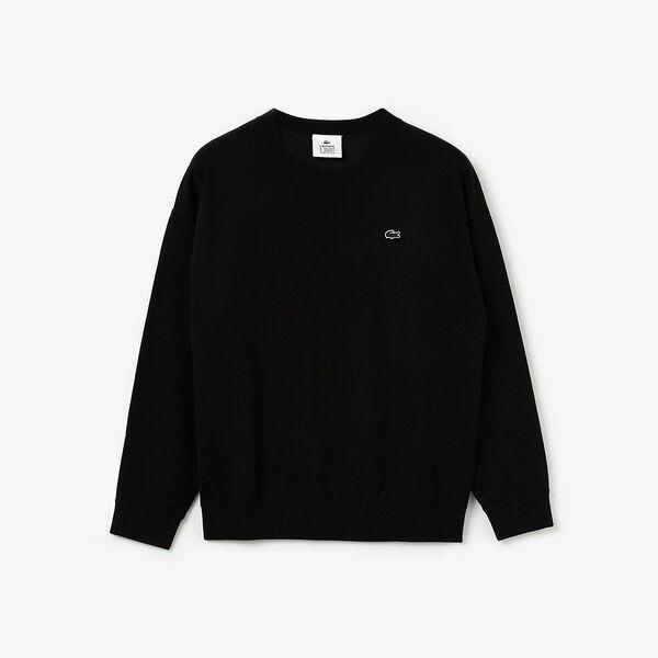 Women's Lacoste LIVE 3D Signature Cotton Crew Neck Sweater, NOIR, hi-res