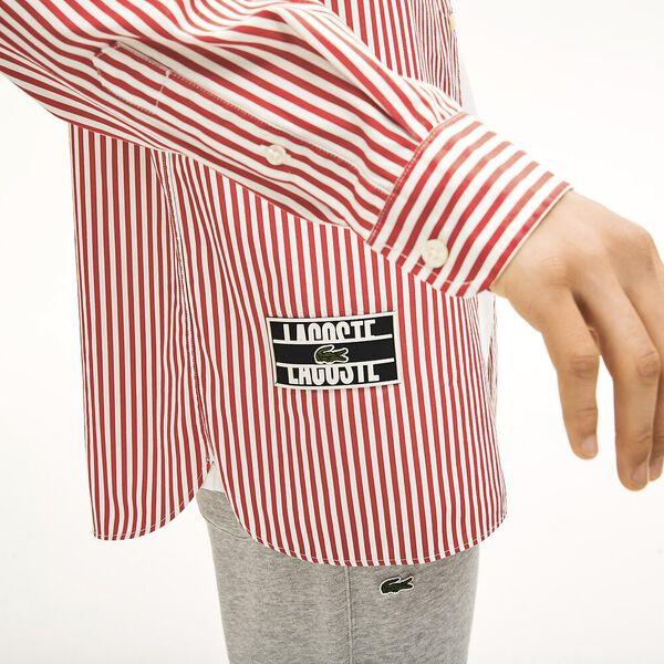 Unisex Lacoste LIVE Boxy Fit Striped Cotton Shirt, FARINE/ROUGE, hi-res