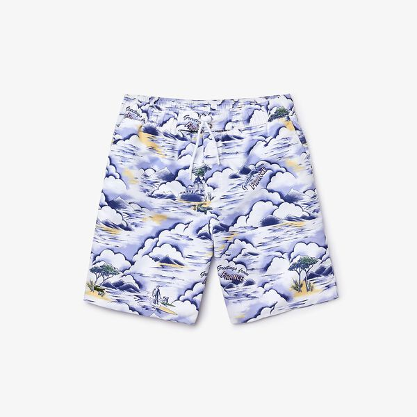 Men's Print Light Quick-Dry Long Swim Shorts, PURPY/CLUSI-BLANC, hi-res