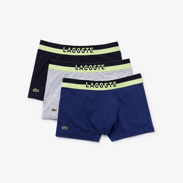 Mens Underwear  Trunk 3 Pack, NAVY BLUE/SILVER CHINE, hi-res