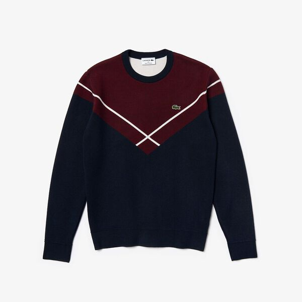 Men's Made In France Jacquard Crew Neck Knit, NAVY BLUE/ALIZARIN-FLOUR, hi-res