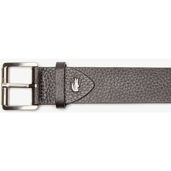 Men's Engraved Rolling Buckle Grained Leather Belt, DARK BROWN, hi-res
