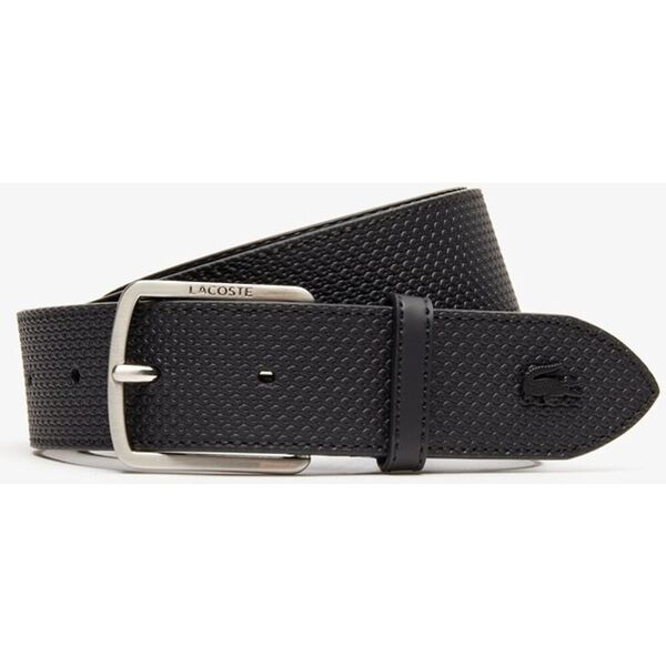 Men's Engraved Buckle Texturised Leather Belt, NOIR, hi-res