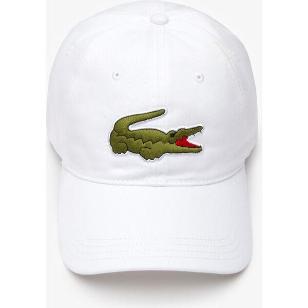 Contrast Strap And Oversized Crocodile Cotton Cap, BLANC, hi-res