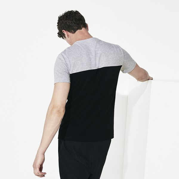 MEN'S LIFESTYLE LIGHT KNIT POCKET TEE, SILVER CHINE/WHITE-BLACK, hi-res