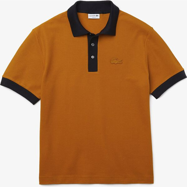Men's Loose Fit Textured Cotton Piqué Polo, ENZIAN/ABYSM, hi-res
