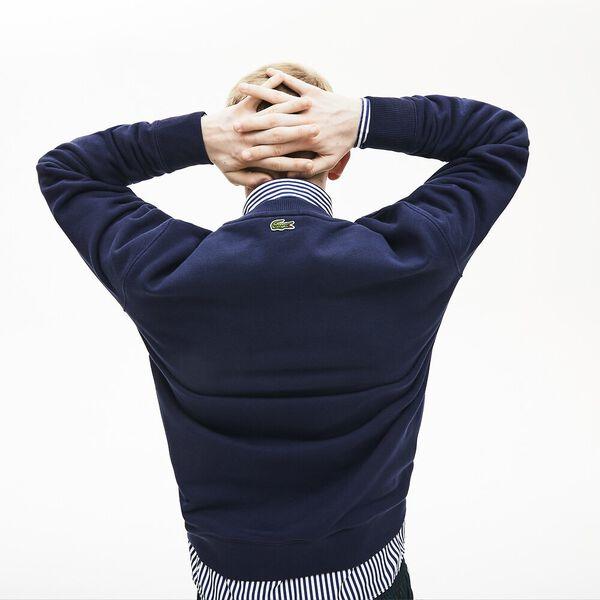 Unisex Lacoste LIVE Lacostism Print Fleece Sweatshirt, MARINE, hi-res