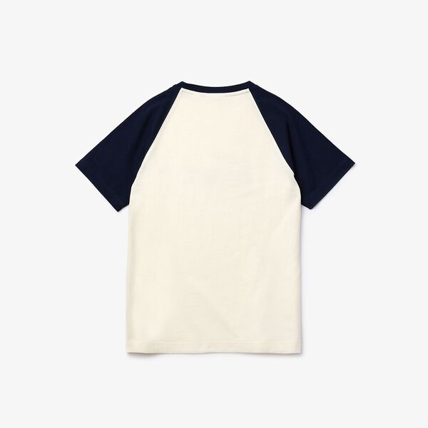 Boy's Crocodile Print Bicolour Cotton T-shirt, LAPONIE/MARINE-SUBAL, hi-res